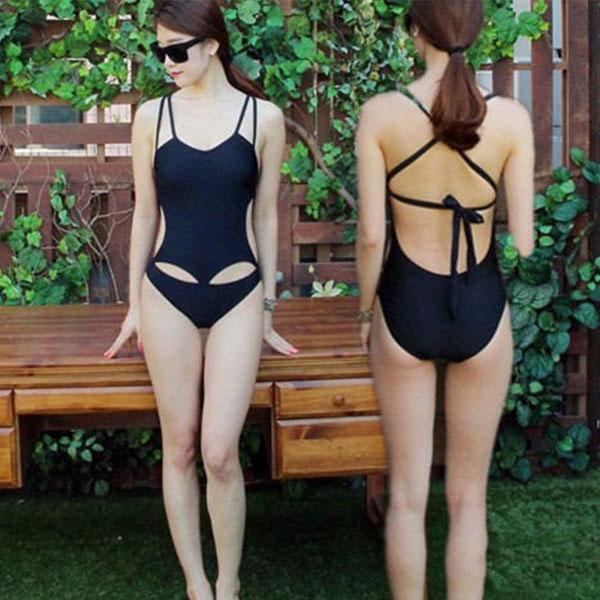 PS Mall 韓版性感露背鏤空連身式泳裝【ET508】遮肚 泳衣 溫泉 沙灘 BIKINI