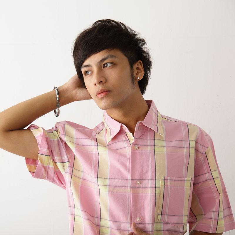 【魔法施】網路獨家販售韓版陽光休閒風格粉色黃條紋短袖襯衫