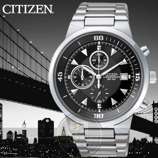 CITIZEN日本星辰Chronograph簡約紳士計時腕錶AN3370-57E公司貨/金城武