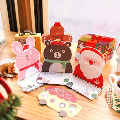 【P15102105】韓版聖誕立體賀卡套裝 聖誕裝飾卡 10張入盒裝