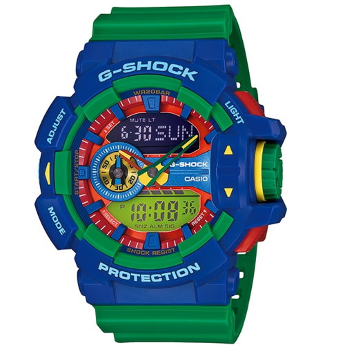 CASIO G-SHOCK/街頭時尚雙顯運動錶/曠綠/GA-400-2ADR