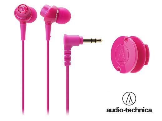 Audio Technia 鐵三角 ATH-CKL203 dip 透明晶巧多彩耳塞式耳機【附捲線器】粉紅色