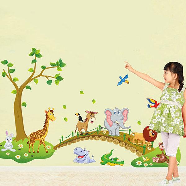 BO雜貨【YV0583】DIY可重複貼 時尚壁貼 牆貼壁紙 壁貼紙 創意璧貼 木橋大象獅子ABC1041