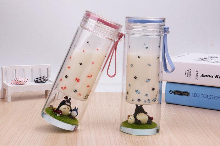 =優生活=日本宮崎駿可愛龍貓微景觀玻璃水杯 創意水杯 學生兒童雙層玻璃水杯子 立體公仔杯 聖誕交換禮物