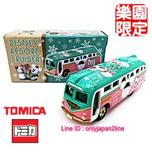 【真愛日本】16110900038限定樂園小車-聖誕雪人巡洋艦巴士   迪士尼樂園 日本帶回 收藏