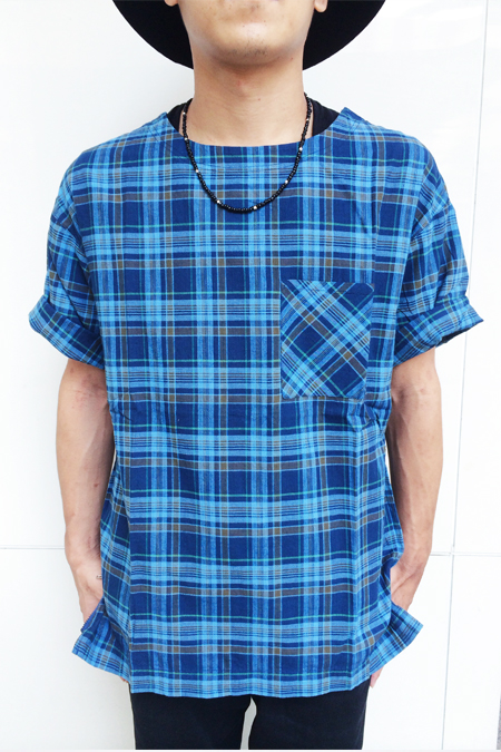 【CANVAS】日本質感格紋無領襯衫