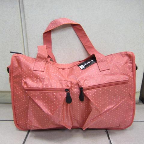 ~雪黛屋~X-TREME小點點可愛旅行袋防水尼龍布材質超大購物袋 大容量好收納不占空間65-2139 深桔