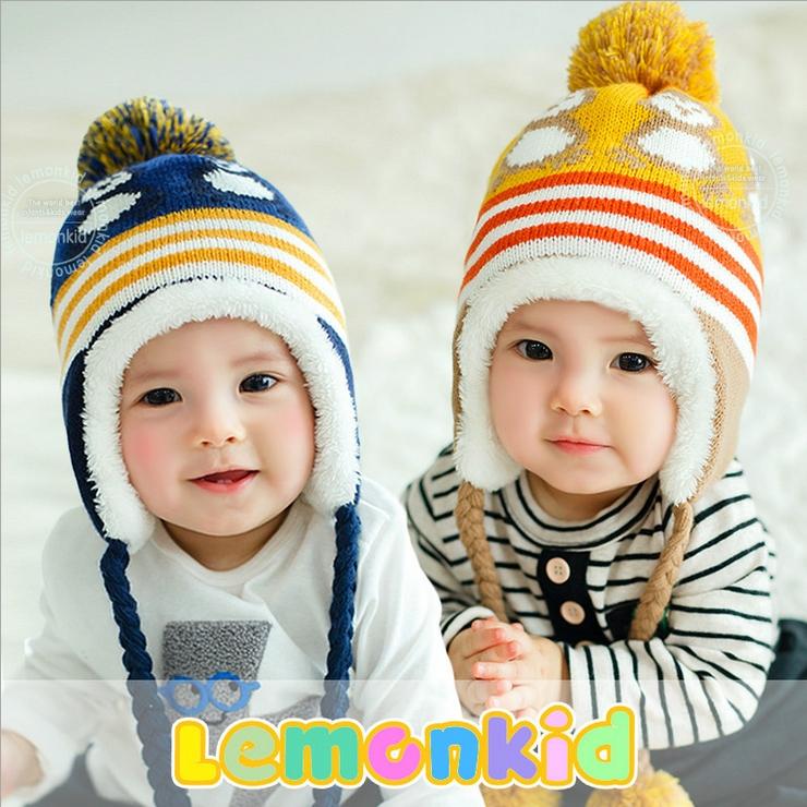 Lemonkid◆冬季可愛小企鵝編織繩毛球保暖兒童冬帽護耳帽