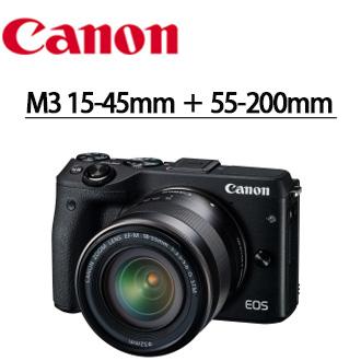 ★分期零利率 ★ 送SD 32G高速卡+ UV保護鏡*2  Canon EOS-M3 15-45mm + 55-200mm 雙鏡組 微型單眼數位相機 彩虹公司貨  送桌上型小腳架+多合一讀卡機+靜電抗刮保護貼