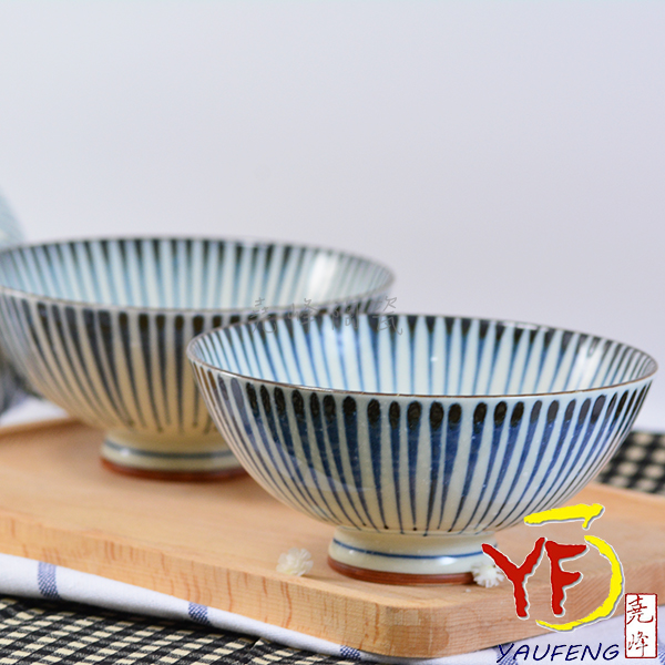 ★堯峰陶瓷★日本美濃燒 大平碗 十草青 飯碗