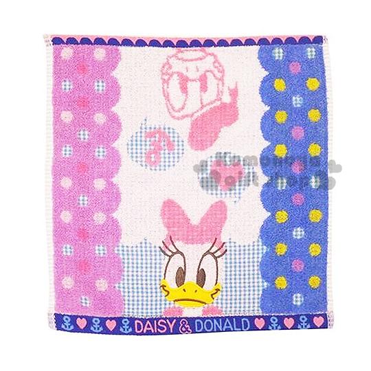 〔小禮堂〕迪士尼 唐老鴨 日本內野Uchino方形毛巾《藍紫.黛絲.大臉.點點.愛心》34x35cm