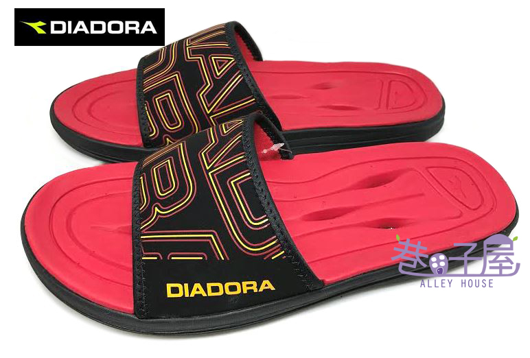 【巷子屋】義大利國寶鞋-DIADORA迪亞多納 男款一片式鞋面排水抗震運動拖鞋 [9732] 紅 超值價$198