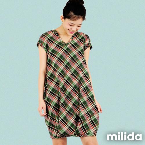 【Milida,全店七折免運】-夏季商品-拼貼款-氣質花苞版型洋裝