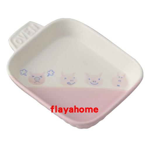《富樂雅居》日本製 萬古燒 小豬 陶瓷焗烤盤 烤缽 (方型/單柄)
