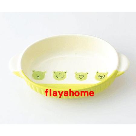 《富樂雅居》日本製 萬古燒 小青蛙 陶瓷焗烤盤 烤缽 (橢圓)