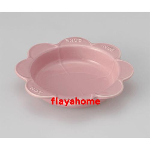 《富樂雅居》日本製 萬古燒 太陽花 陶瓷焗烤盤 烤缽 點心盤 蛋糕盤 (粉紅色)