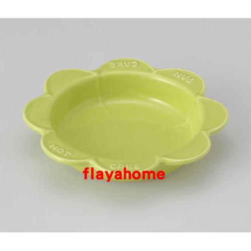 《富樂雅居》日本製 萬古燒 太陽花 陶瓷焗烤盤 烤缽 點心盤 蛋糕盤 (綠色)