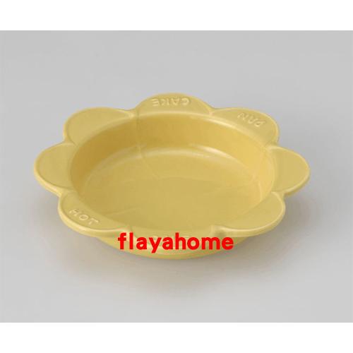 《富樂雅居》日本製 萬古燒 太陽花 陶瓷焗烤盤 烤缽 點心盤 蛋糕盤 (黃色)