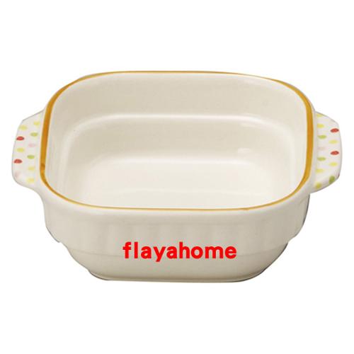 《富樂雅居》日本製 萬古燒 水玉橘邊 陶瓷焗烤盤 烤缽 (方型)