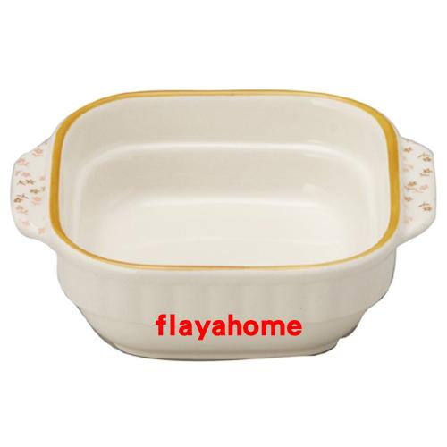 《富樂雅居》日本製 萬古燒 小花橘邊 陶瓷焗烤盤 烤缽 (方型)