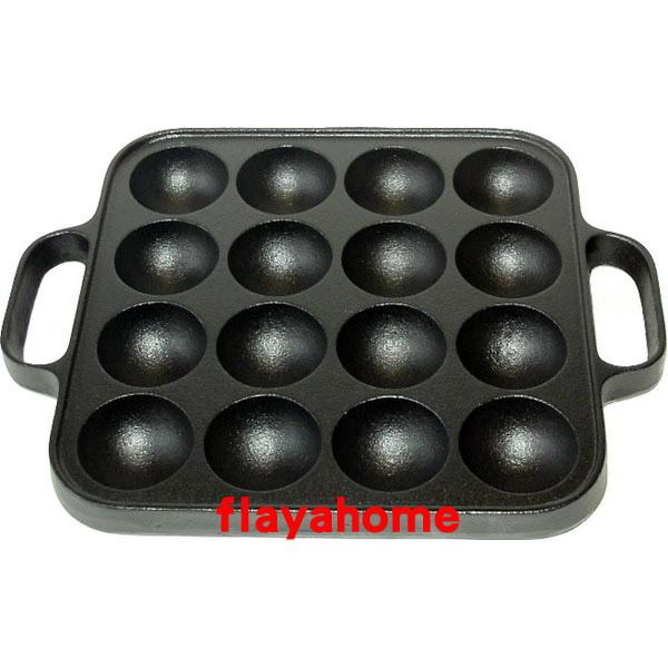 《富樂雅居》日本製 南部鐵器 及源鑄造 盛榮堂 Oigen 鑄鐵鍋 16穴 角型 章魚燒 鐵烤盤