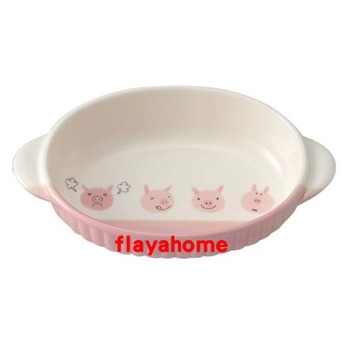 《富樂雅居》日本製 萬古燒 小豬 陶瓷焗烤盤 烤缽 (橢圓)