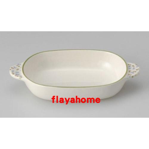 《富樂雅居》日本製 萬古燒 小花綠邊 陶瓷焗烤盤 烤缽 (橢圓)
