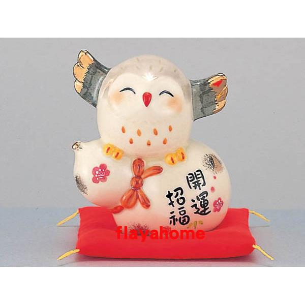 《富樂雅居》日本製 藥師窯 彩繪開運招福 貓頭鷹 8.5cm (#184)