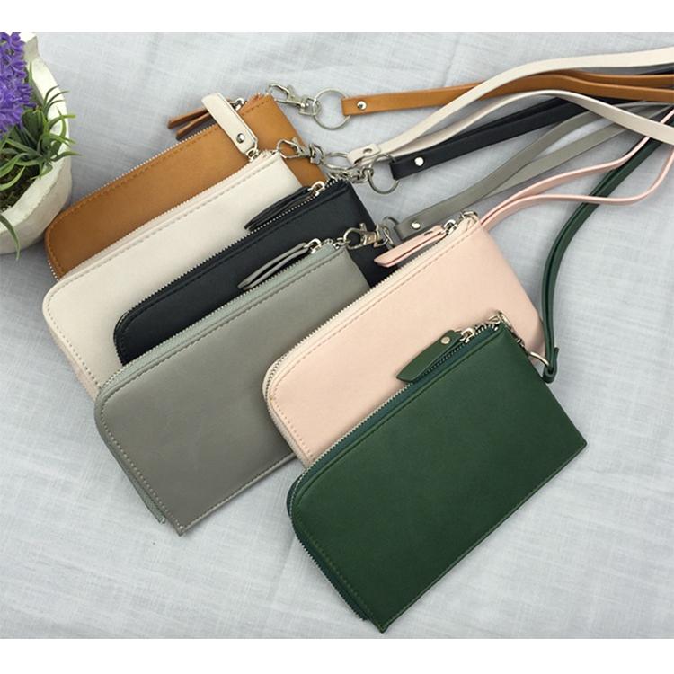 韓國 東大門新款 素面皮革拉鍊掛頸包手機包零錢包(6色)【庫奇小舖】