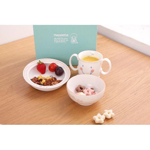 【日本 Hoppetta】 微笑強化陶瓷3件餐具禮盒組