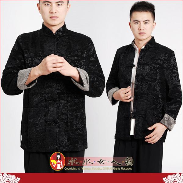 【水水女人國】~中國風男士唐裝~吉祥中國結。風雅韶味十足的燙花平絨長袖外套。黑色