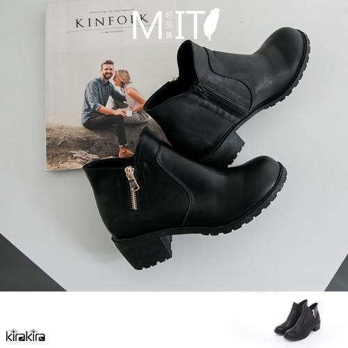 包鞋- MIT復古感側V拉鍊經典高跟踝靴【011600073】