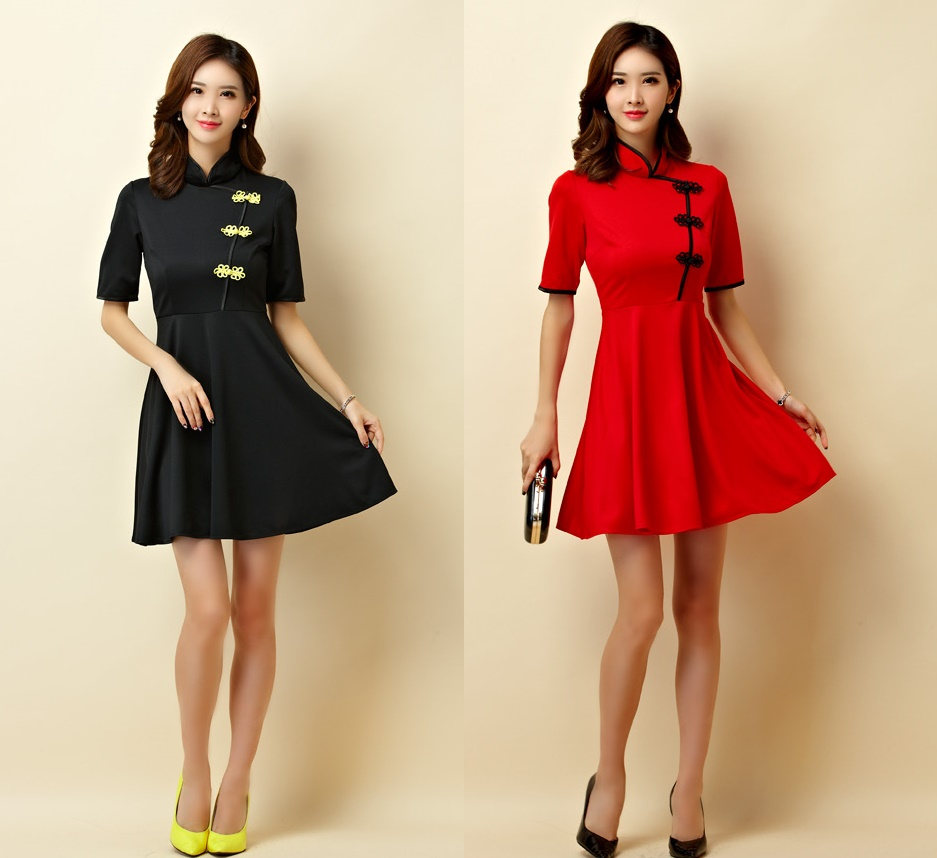 天使嫁衣【J2K9950】2色中大尺碼中袖盤扣改良式旗袍款小禮服洋裝˙預購訂製款