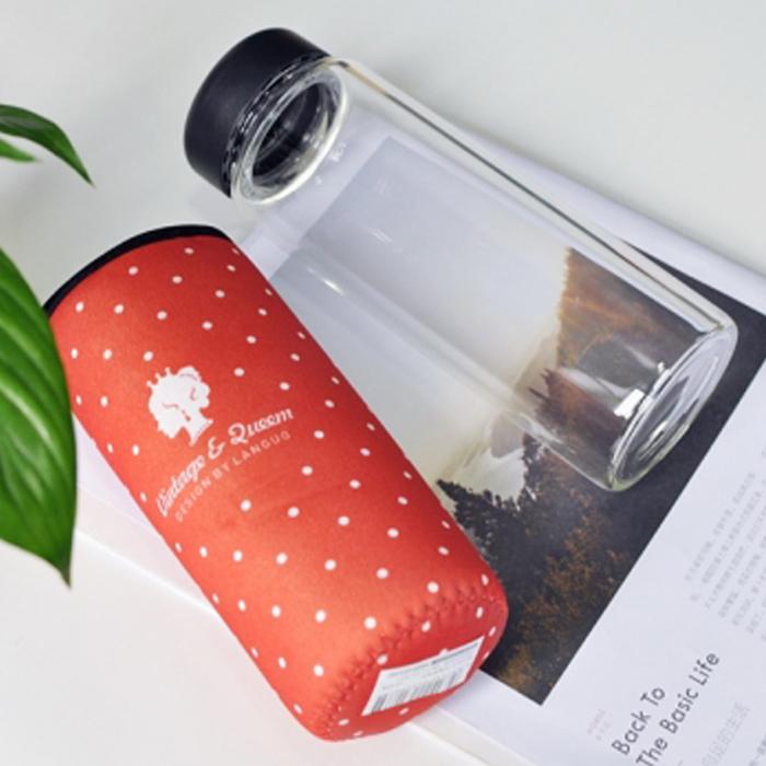 Anne&Alice包包購  ~精選實用創意小物專區~新款女王波點布套玻璃杯水壺~
