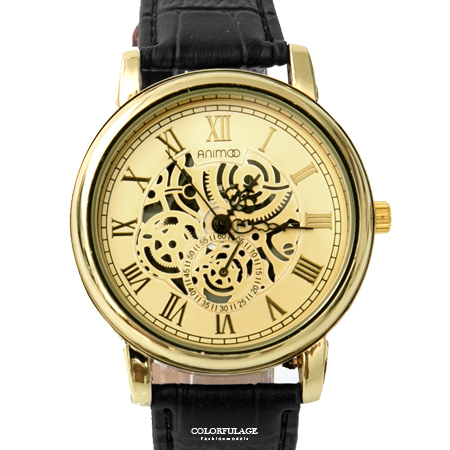 手錶 金色仿機械錶面板雕紋外框皮革腕錶 羅馬數字設計 極推優質錶款 柒彩年代【NE1852】單支售價