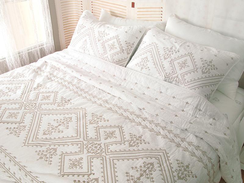 (保暖紓壓)純棉歐式複古刺繡絎縫被全棉三件套預購七天