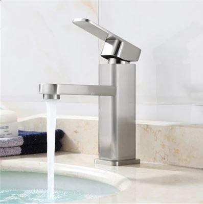 方正大器 高檔 不銹鋼水龍頭 冷熱出水 浴室面盆 洗臉盆 配件齊全 簡單安裝 出水綿密不噴濺