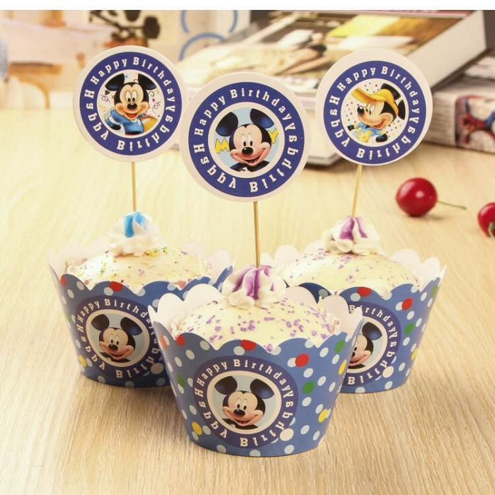=優生活=烘焙包裝紙杯蛋糕 蛋糕裝飾 插牌圍邊+插牌裝飾 派對用品 兒童生日 彌月蛋糕 收綖蛋糕【米奇B】