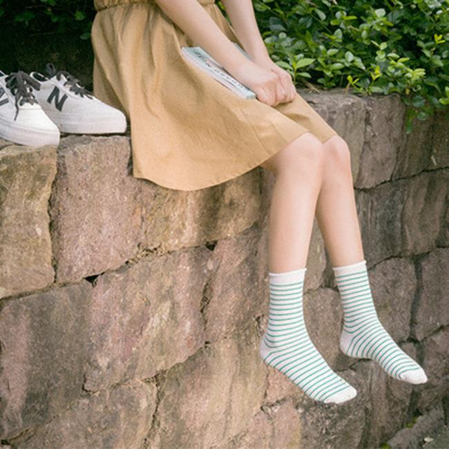 50%OFF【W018400SK】秋冬新品 韓版 學院風卷邊細條紋女襪 鬆口堆堆襪 純棉襪子批發