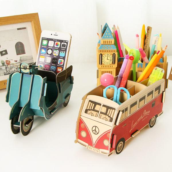 DIY 歐風 創意木質筆筒 筆座 辦公文具收納盒 (預購)