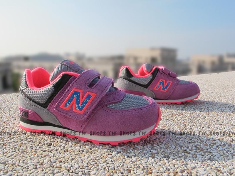 Shoestw【KG574O5I】NEW BALANCE 574 童鞋 運動鞋 小童 紫桃 橘 麂皮 潑墨