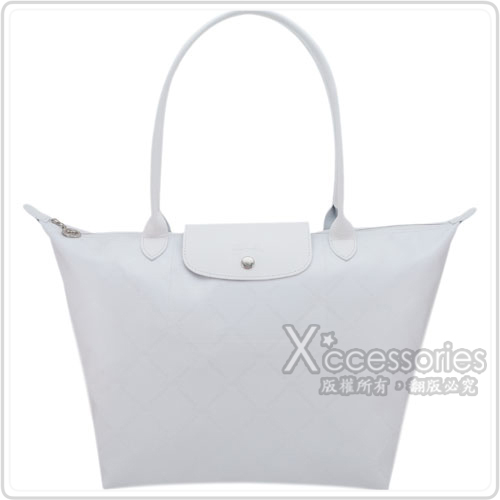 LONGCHAMP 經典LM系列60週年復刻版格紋肩背包(大/白)