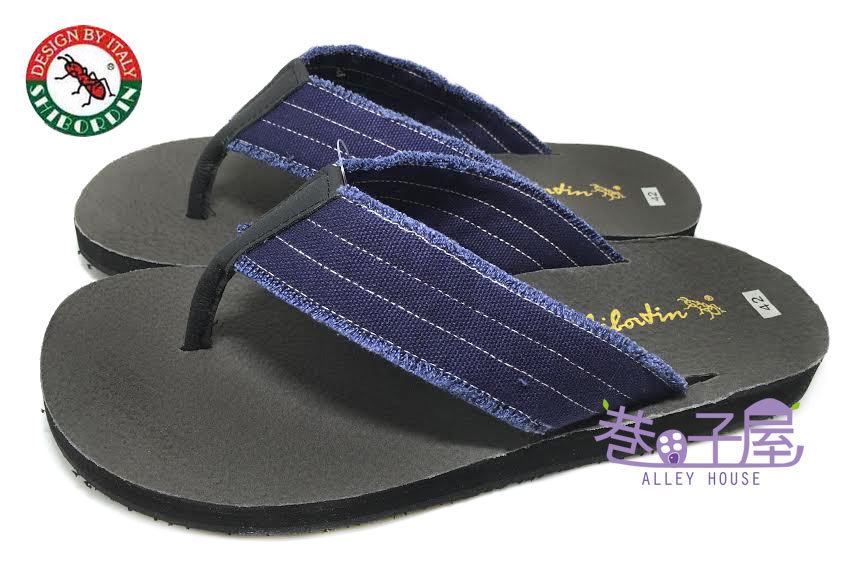 【巷子屋】SHBORDIN喜伯登 紅螞蟻 男款流蘇毛邊夾腳拖鞋 人字拖鞋 [10098] 藍 台灣製造 超值價$198