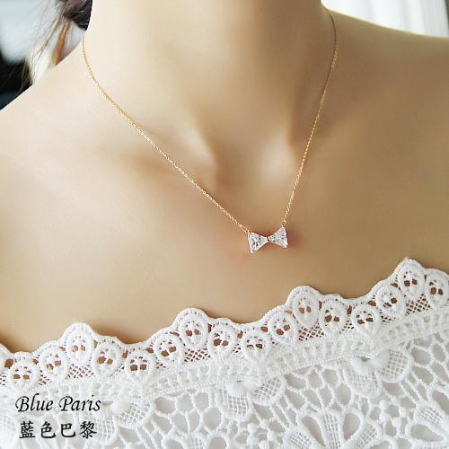 韓國  甜美蝴蝶結鑽石玫瑰金項鍊【21524】☞ 現貨商品《2色》 藍色巴黎【防過敏】