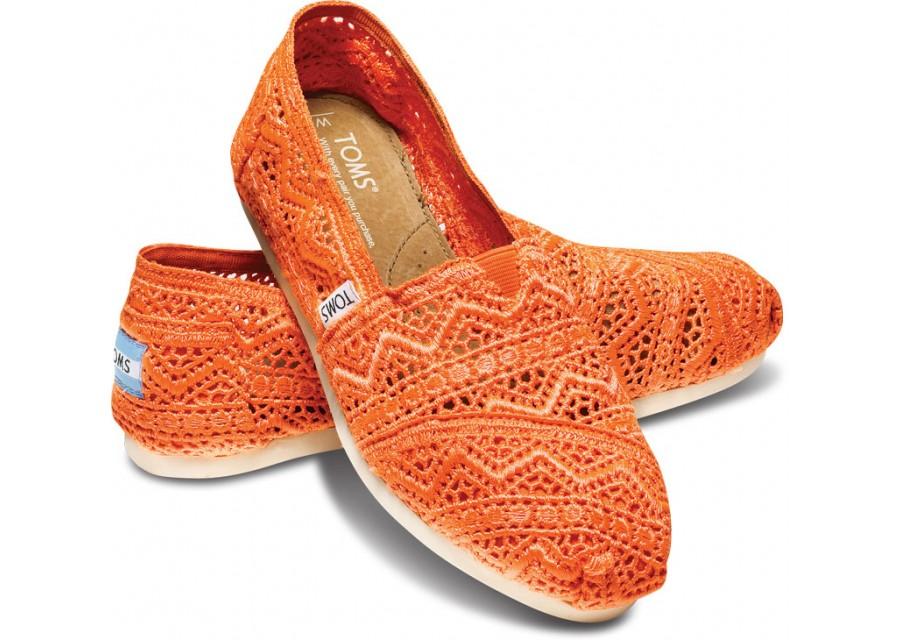 [Anson king]國外代購TOMS 帆布鞋/懶人鞋/休閒鞋/至尊鞋 蕾絲系列  橘色 女款