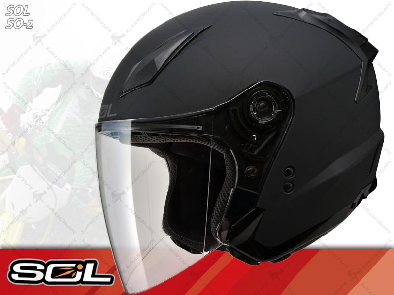 SOL安全帽 SO-2 / SO2 消光黑【簡約輕化.可加下巴】 半罩帽 『耀瑪騎士生活機車部品』