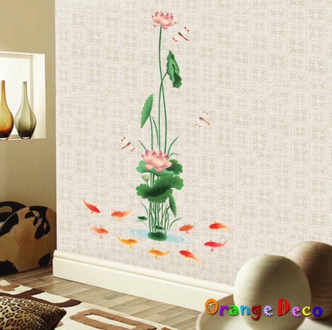 【橘果設計】鯉魚戲蓮 DIY組合壁貼 牆貼 壁紙 無痕壁貼 室內設計 裝潢 裝飾佈置