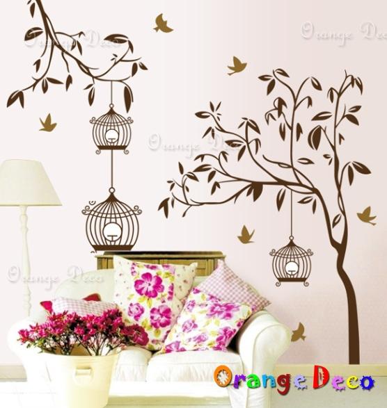 【橘果設計】樹上的鳥籠 DIY組合壁貼 牆貼 壁紙 無痕壁貼 室內設計 裝潢 裝飾佈置
