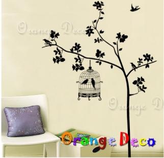 【橘果設計】樹與鳥籠 DIY組合壁貼 牆貼 壁紙 無痕壁貼 室內設計 裝潢 裝飾佈置