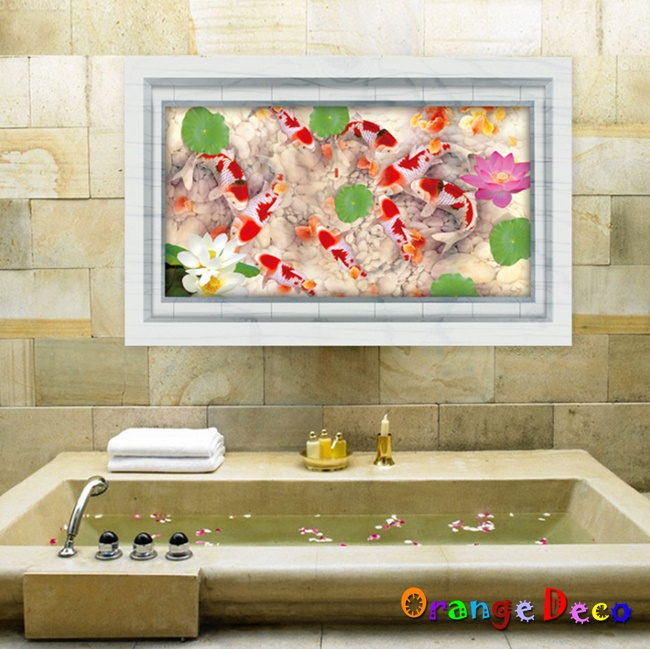 【橘果設計】蓮花池 DIY組合壁貼 牆貼 壁紙 無痕壁貼 室內設計 裝潢 裝飾佈置